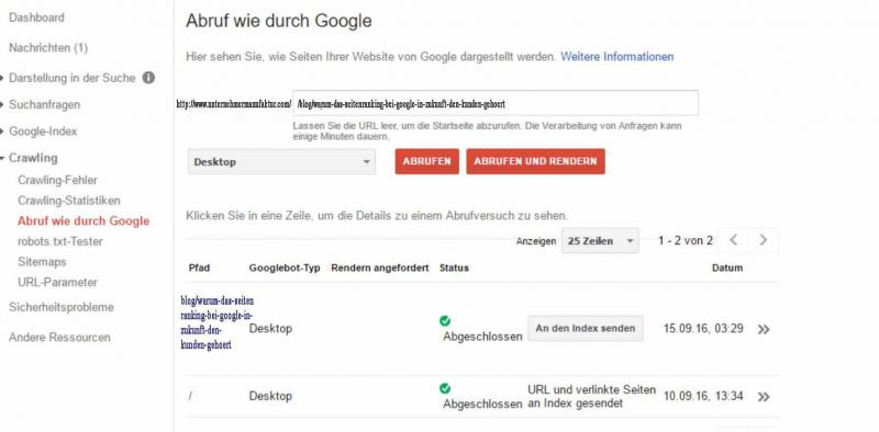 Crawling mit der Google Search-Console